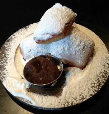 Powdered Doughnut Beignets with Apple Rum Sauce